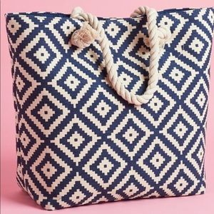 Tote Blue and tan with rope handles